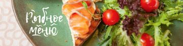 Fish Menu Offer with Salmon and tomatoes