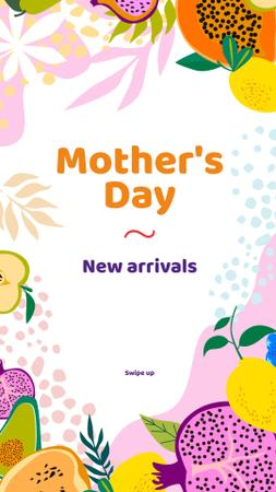 Template di design Mother's Day Special Offer with Fruits Illustration Instagram Story