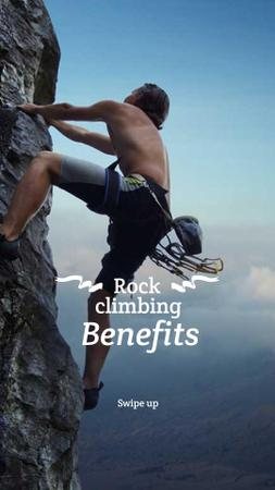 Modèle de visuel Climbing Benefits with Climber on Rock - Instagram Story