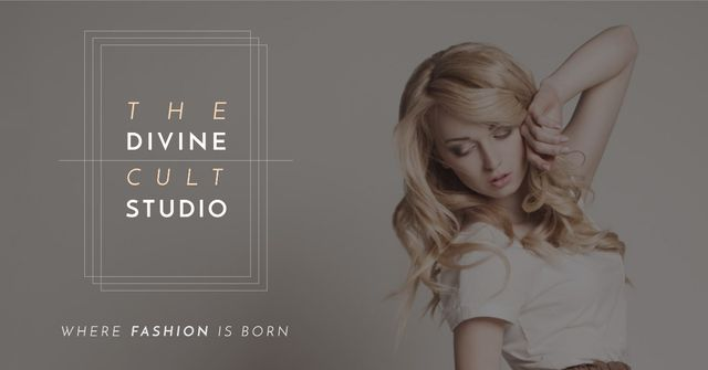 Szablon projektu Fashion Studio Ad with Attractive Blonde Facebook AD