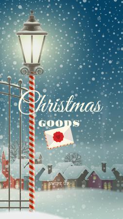 Ontwerpsjabloon van Instagram Story van Christmas Goods Offer with Snowy Village