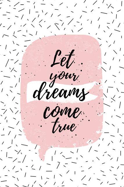 Dreams Quote on pink Tumblr Modelo de Design