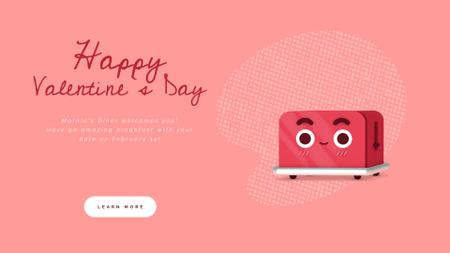 Plantilla de diseño de Valentine's Day Cute Red Toaster with Heart Full HD video