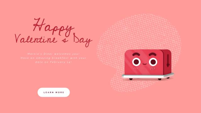 Valentine's Day Cute Red Toaster with Heart Full HD video Modelo de Design