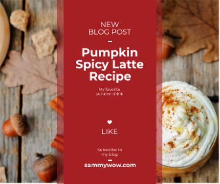 pumpkin latte recipe for food blog Large Rectangle Design Template