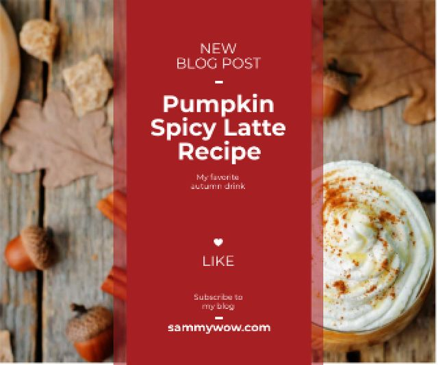 pumpkin latte recipe for food blog Large Rectangle – шаблон для дизайну