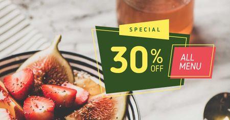 Designvorlage Healthy meal with berries für Facebook AD