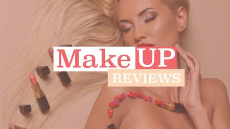Ontwerpsjabloon van Youtube van Makeup reviews poster