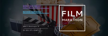 Plantilla de diseño de Film marathon night Announcement Email header