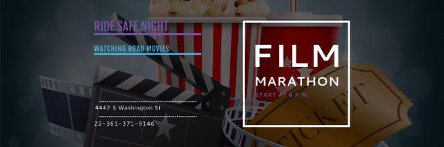 Film marathon night Announcement Email header Modelo de Design