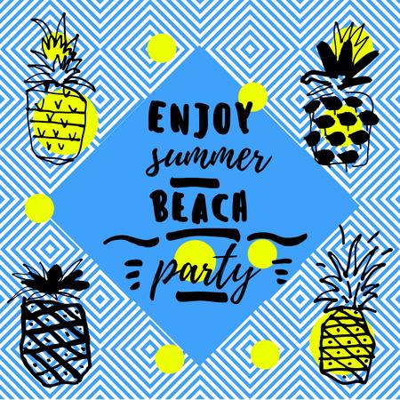 Summer Beach Party Invitation with Pineapples Instagram Modelo de Design