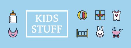 Ontwerpsjabloon van Facebook cover van Kids Stuff Sale Offer with Cute icons