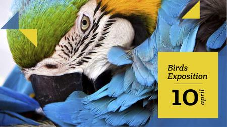 Plantilla de diseño de Wildlife Birds Facts with Blue Macaw Parrot FB event cover