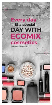 Plantilla de diseño de Makeup Brand Promotion with Cosmetics Set Graphic