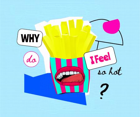 Illustration of French Fries with Funny Human Mouth Facebook Modelo de Design