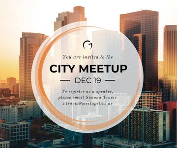 Real Estate Meetup Invitation Modern City Skyscrapers