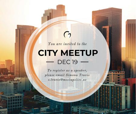 Szablon projektu Real Estate Meetup Invitation Modern City Skyscrapers Facebook