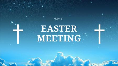 Easter Holiday Event Announcement with Crosses in Heaven FB event cover – шаблон для дизайна