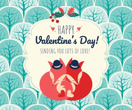 Valentine's Day Greeting with Foxes Facebook Modelo de Design
