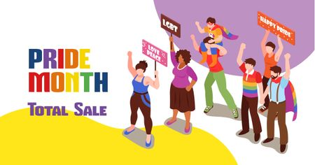 Pride Month Sale with People at Demonstration Facebook AD Modelo de Design