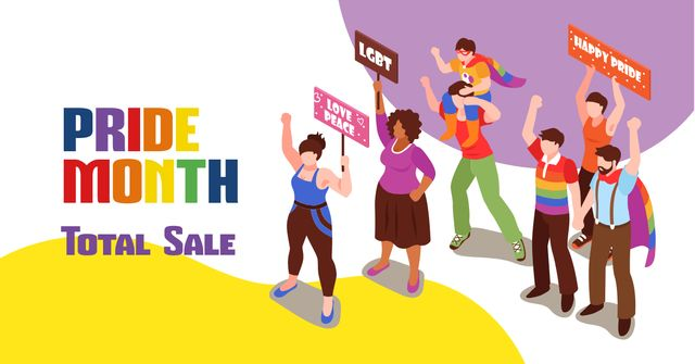 Pride Month Sale with People at Demonstration Facebook AD Design Template