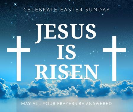 Plantilla de diseño de Easter Day greeting with crosses in sky Facebook