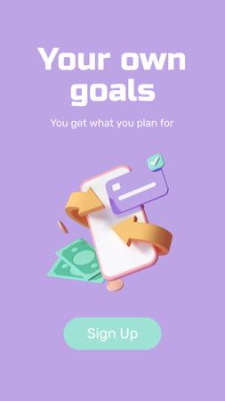 Designvorlage Business Goals with Money and Phone für Instagram Story