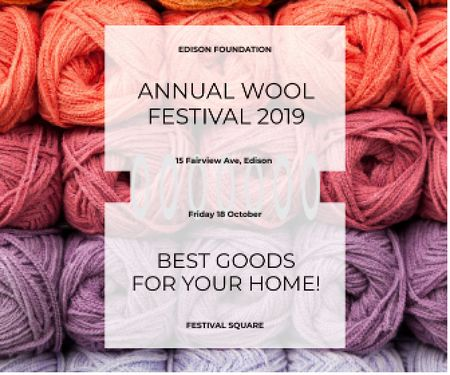 Knitting Festival Invitation Wool Yarn Skeins Large Rectangleデザインテンプレート