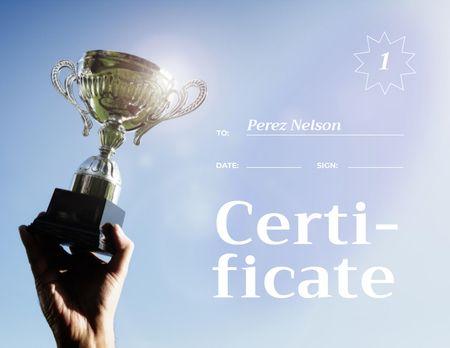 Designvorlage Sport Achievement Award with Golden Cup für Certificate