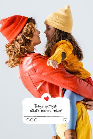 Plantilla de diseño de Happy smiling Mother and Daughter Pinterest