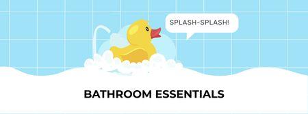 Ontwerpsjabloon van Facebook cover van Bathroom Essentials Offer with Toy Duck