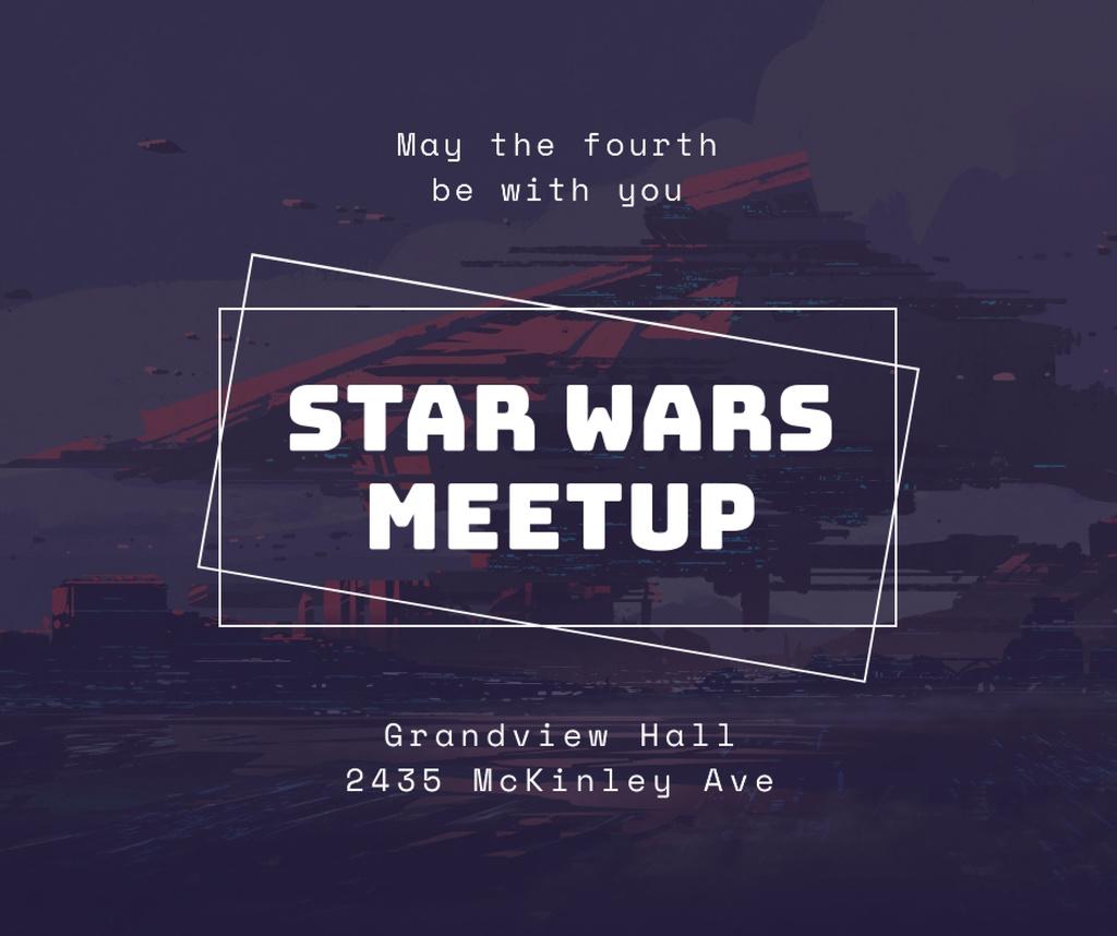 Spaceship over planet landscape for Star Wars Day Facebook Modelo de Design