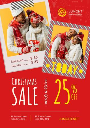 Plantilla de diseño de Christmas Sale with Couple with Presents Poster