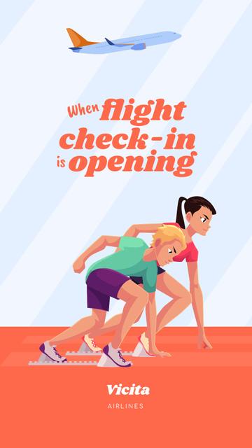 Designvorlage Funny Joke about Flight Check-In Opening für Instagram Story