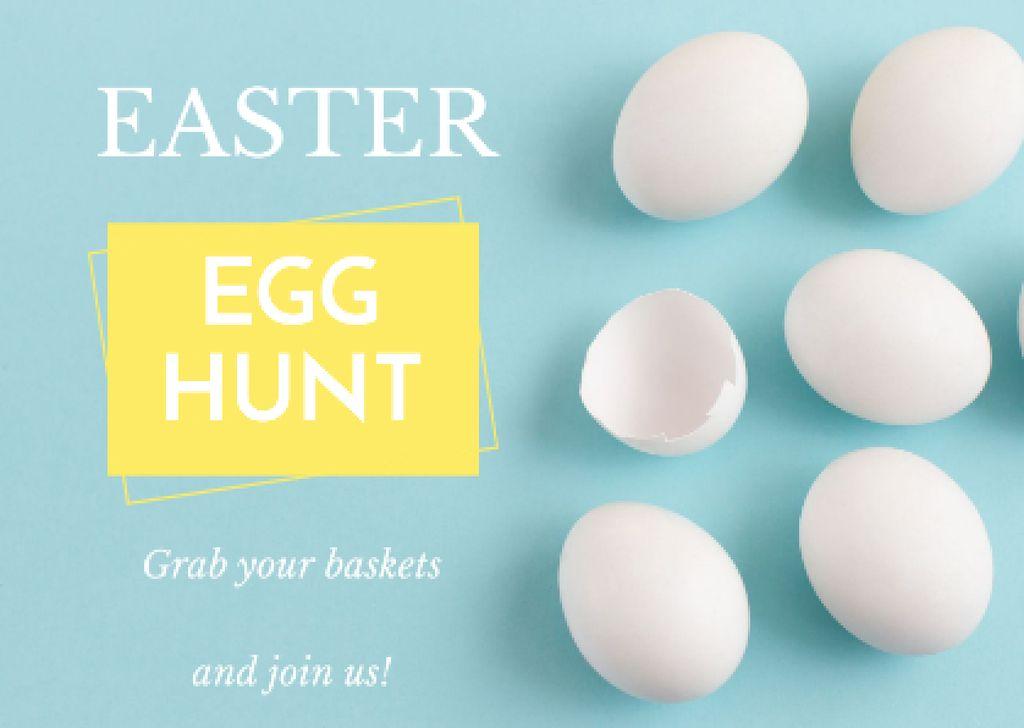 Egg Hunt Invitation Easter with Eggs Shells Postcard Design Template