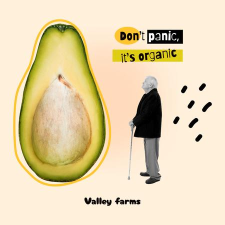 Template di design Funny Illustration of Old Man with Huge Avocado Instagram