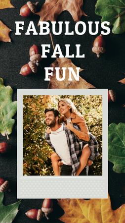 Designvorlage Happy Couple in Autumn Forest für Instagram Story