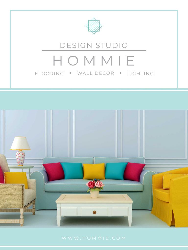 Furniture Sale Modern Interior in Light Colors Poster US – шаблон для дизайна