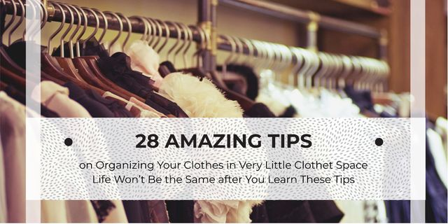 Wardrobe with Clothes on Hangers in Brown Twitter Design Template