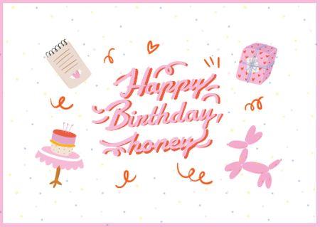 Plantilla de diseño de Birthday greeting with cute toys Card
