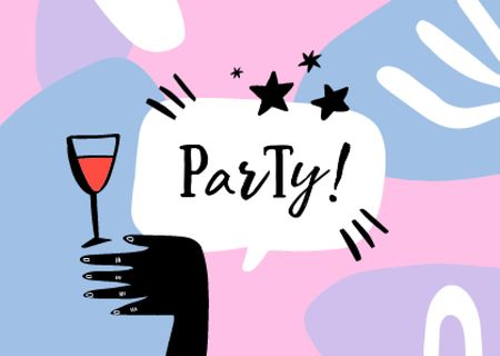 Party Announcement with Festive Wine Glass Card Modelo de Design