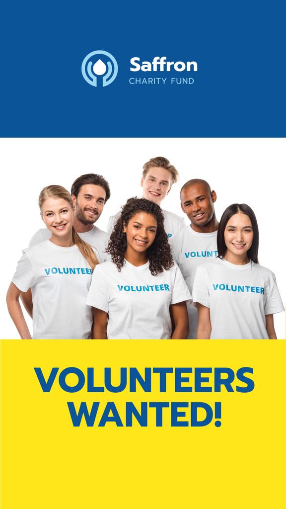 Platilla de diseño Smiling Team of Volunteers Instagram Story