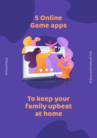 Modèle de visuel #QuarantineAndChill Online Game apps Ad with Happy Family - Poster