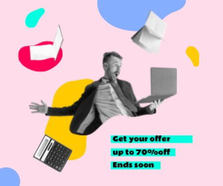 Funny Businessman with Laptop and Flying Books and Calculator Medium Rectangle Modelo de Design