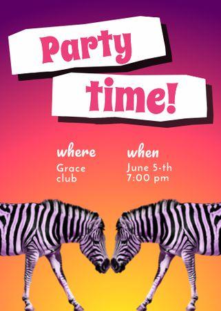 Modèle de visuel Party Announcement with Funny Zebras - Invitation