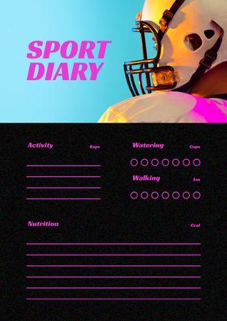 Sport Diary with Sportsman in Helmet Schedule Planner – шаблон для дизайна