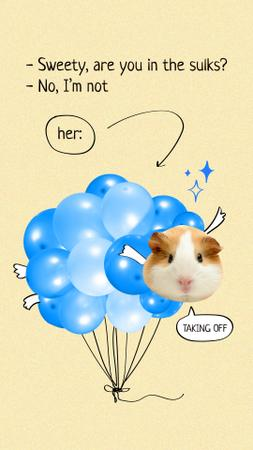 Funny Cute Hamster and Bunch of Festive Balloons Instagram Story – шаблон для дизайна