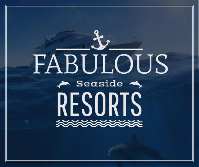 Ontwerpsjabloon van Facebook van Seaside Resorts Promotion Ship in Sea