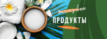 Natural Products Offer with green leaves and Flower Facebook cover – шаблон для дизайна