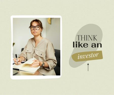 Modèle de visuel Woman taking notes on her Investments - Facebook
